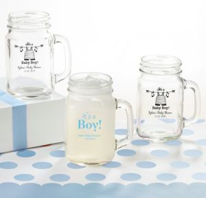 Personalized Baby Shower Mason Jar Mugs (Printed Glass) (White, Shower Love Boy)