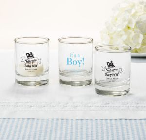 Personalized Baby Shower Shot Glasses (Printed Glass) (White, Welcome Boy)