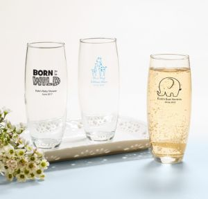 Personalized Baby Shower Stemless Champagne Flutes (Printed Glass) (White, Blue Safari)