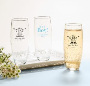 Personalized Baby Shower Stemless Champagne Flutes (Printed Glass) (White, Shower Love Boy)
