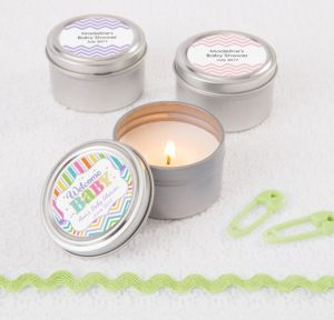 Personalized Baby Shower Wedding Candle Tins (Printed Label) (Baby Brights)