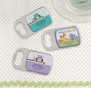 Personalized Baby Shower Bottle Openers - Silver (Printed Epoxy Label) (Woodland)