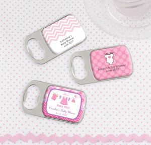 Personalized Baby Shower Bottle Openers - Silver (Printed Epoxy Label) (Shower Love Girl)