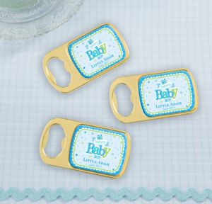 Personalized Baby Shower Bottle Openers - Gold (Printed Epoxy Label) (Gold, Welcome Boy)