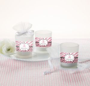 Personalized Baby Shower Glass Votive Candle Holders (Printed Label) (Pink Safari)