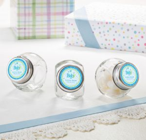 Personalized Baby Shower Small Glass Jars (Printed Label) (Welcome Boy)