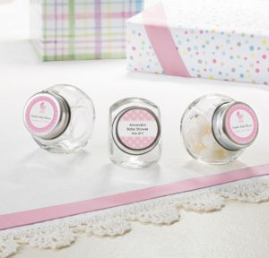 Personalized Baby Shower Small Glass Jars (Printed Label) (Celebrate Girl)