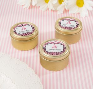 Personalized Baby Shower Round Candy Tins - Gold (Printed Label) (Gold, Pink Safari)