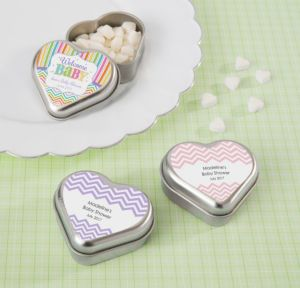 Personalized Baby Shower Heart-Shaped Mint Tins with Candy (Printed Label) (Silver, Baby Brights)