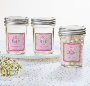 Personalized Baby Shower Mason Jars with Solid Lids (Printed Label) (Welcome Girl)