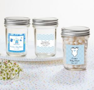 Personalized Baby Shower Mason Jars with Solid Lids (Printed Label) (Shower Love Boy)