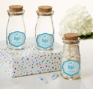 Personalized Baby Shower Glass Milk Bottles with Corks (Printed Label) (Welcome Boy)