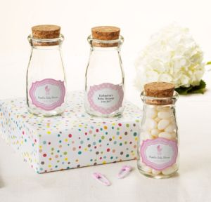 Personalized Baby Shower Glass Milk Bottles with Corks (Printed Label) (Celebrate Girl)