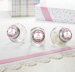 Personalized Baby Shower Glass Candy Jars (Printed Label) (Pink Safari)