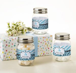 Personalized Baby Shower Mini Glass Mason Jars (Printed Label) (Blue Safari)