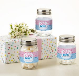 Personalized Baby Shower Mini Glass Mason Jars (Printed Label) (Gender Reveal)