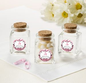 Personalized Baby Shower Small Glass Bottles with Corks (Printed Label) (Pink Safari)