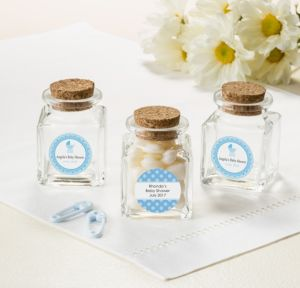 Personalized Baby Shower Small Glass Bottles with Corks (Printed Label) (Celebrate Boy)