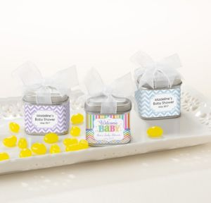 Personalized Baby Shower Wedding Favor Tins with Bows, Set of 12 (Printed Label) (Baby Brights)