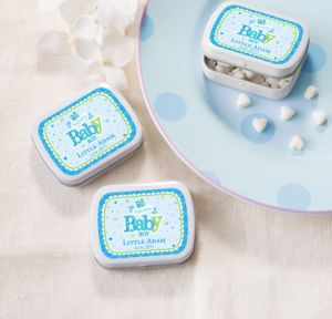 Personalized Baby Shower Mint Tins with Candy (Printed Label) (White, Welcome Boy)