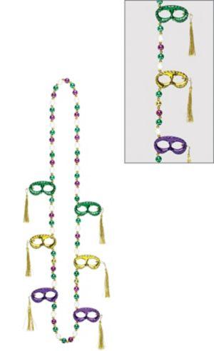 Masquerade Mask Mardi Gras Bead Necklace