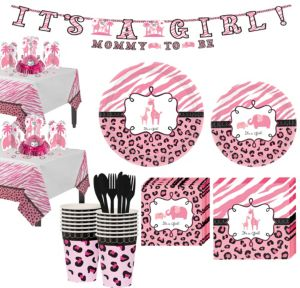 Pink Safari Girl Baby Shower Tableware Kit 36 guests
