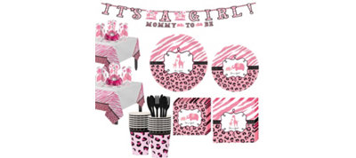 Pink Safari Girl Baby Shower Tableware Kit 36 guests