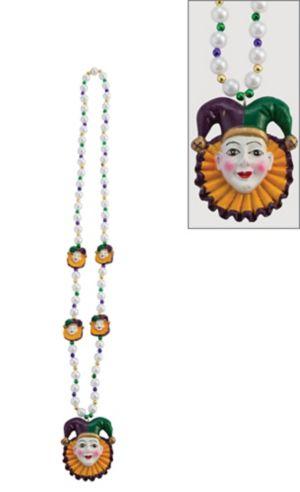 Jester Mardi Gras Pendant Bead Necklace