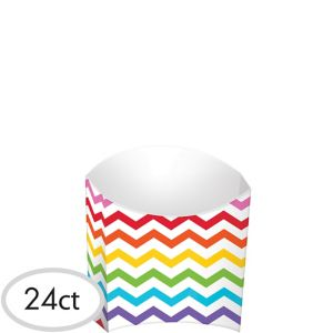Bright Rainbow Chevron French Fry Boxes 24ct