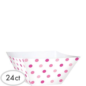 Pink Polka Dot Square Bowls 24ct