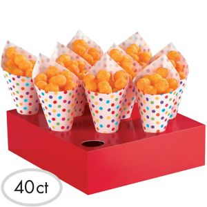 Bright Rainbow Polka Dot Snack Cones with Stands 40ct