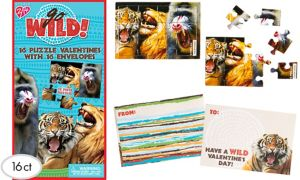 Go Wild Valentine Exchange Card Puzzles 16ct