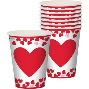 Confetti Hearts Valentine's Day Cups 8ct