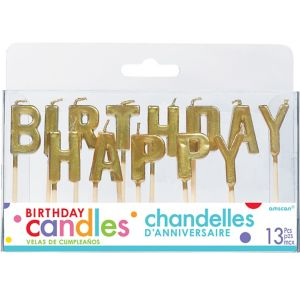 Gold Happy Birthday Toothpick Candle Set 13pc