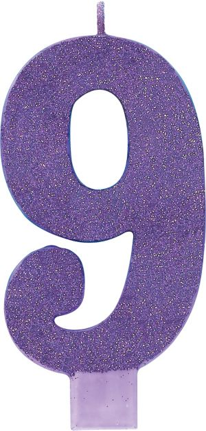 Giant Glitter Purple Number 9 Birthday Candle