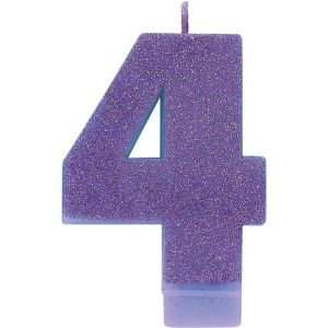 Glitter Purple Number 4 Birthday Candle