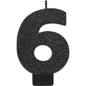 Glitter Black Number 6 Birthday Candle