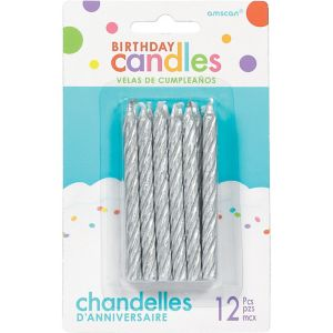 Silver Spiral Birthday Candles 12ct