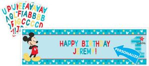 Giant 1st Birthday Mickey Mouse Personalized Banner Kit