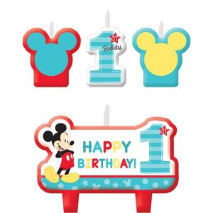 Mickey Mouse 1st Birthday Candles 4ct
