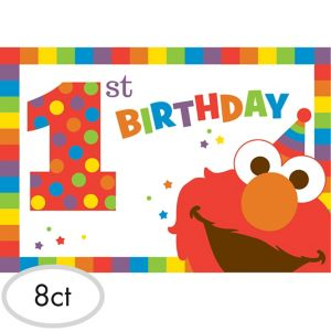 1st Birthday Elmo Invitations 8ct