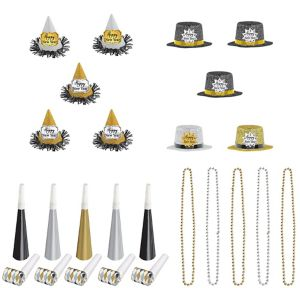 Glitter Black, Gold & Silver New Year's Party Kit for 10 Guests