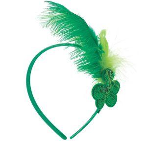 Green Shamrock Feather Headband