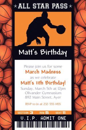 Custom Male Basketball Ticket Invitation