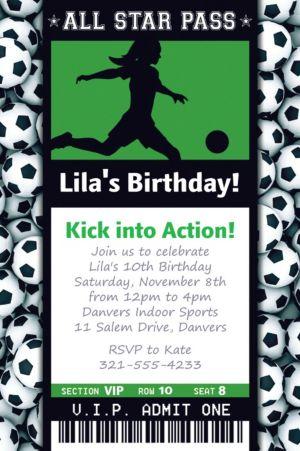 Custom Female Soccer Ticket Invitation
