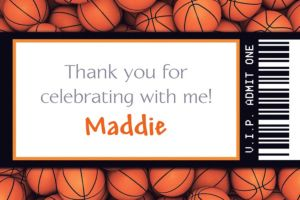 Custom Basketball Ticket Thank You Note