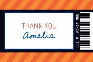Custom Orange Generic Ticket Thank You Note