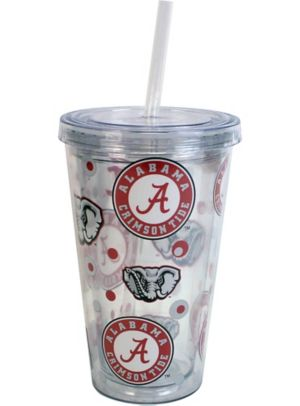 Alabama Crimson Tide Double Wall Tumbler with Straw