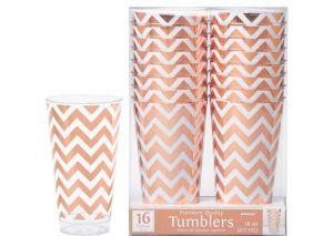 Rose Gold Chevron Premium Plastic Cups 16ct