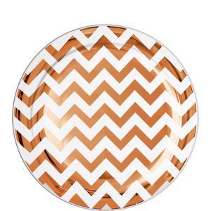 Rose Gold Chevron Premium Plastic Lunch Plates 20ct